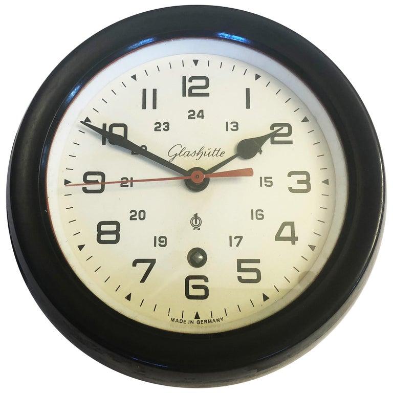 Bakelite Ship Wall Clock by Glashütte For Sale