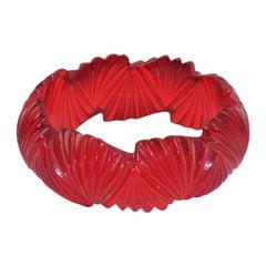 Bakelite Candy Apple Red Carved Bangle Bracelet