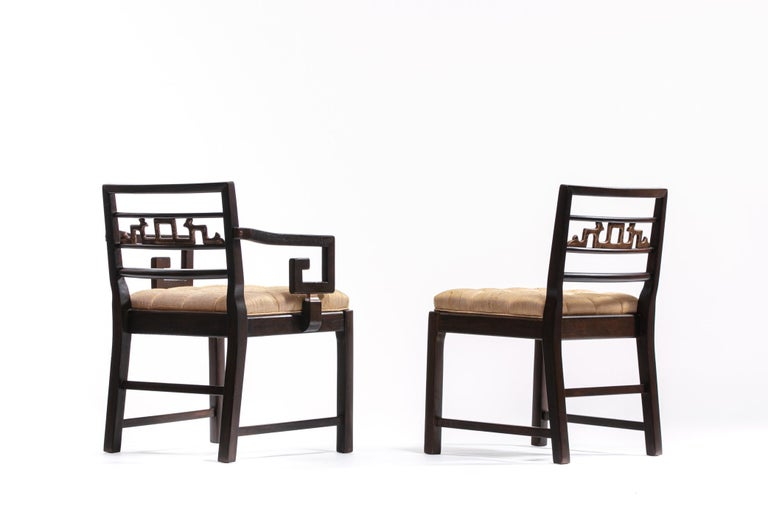 Baker Asian Chinoiserie Mahogany Dining Chairs Set of Six, circa 1950 For Sale 4