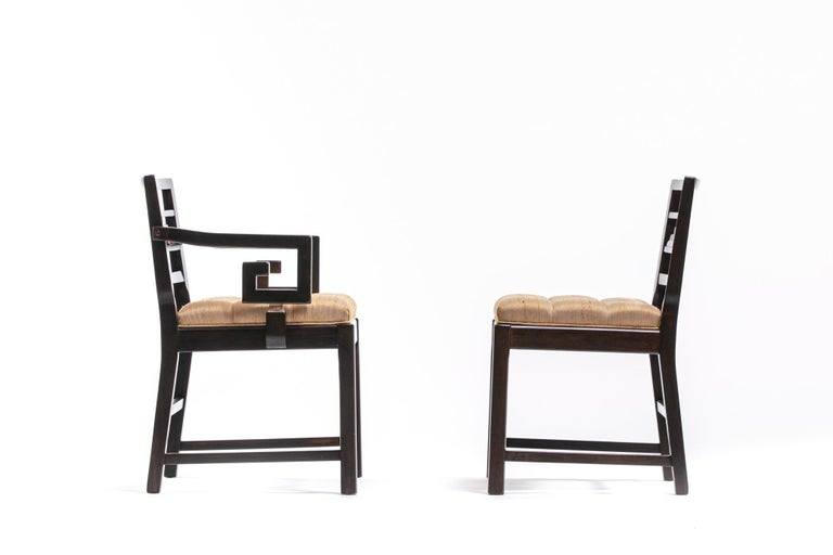 Baker Asian Chinoiserie Mahogany Dining Chairs Set of Six, circa 1950 For Sale 5