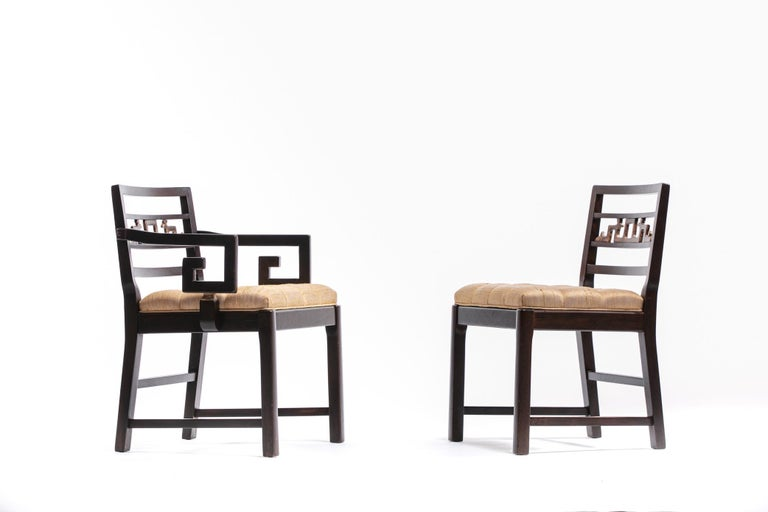 Baker Asian Chinoiserie Mahogany Dining Chairs Set of Six, circa 1950 For Sale 6