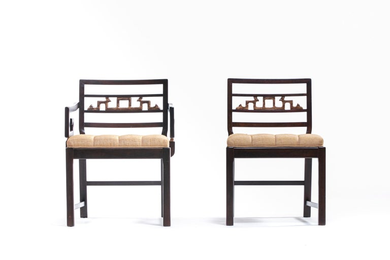 Baker Asian Chinoiserie Mahogany Dining Chairs Set of Six, circa 1950 For Sale 7