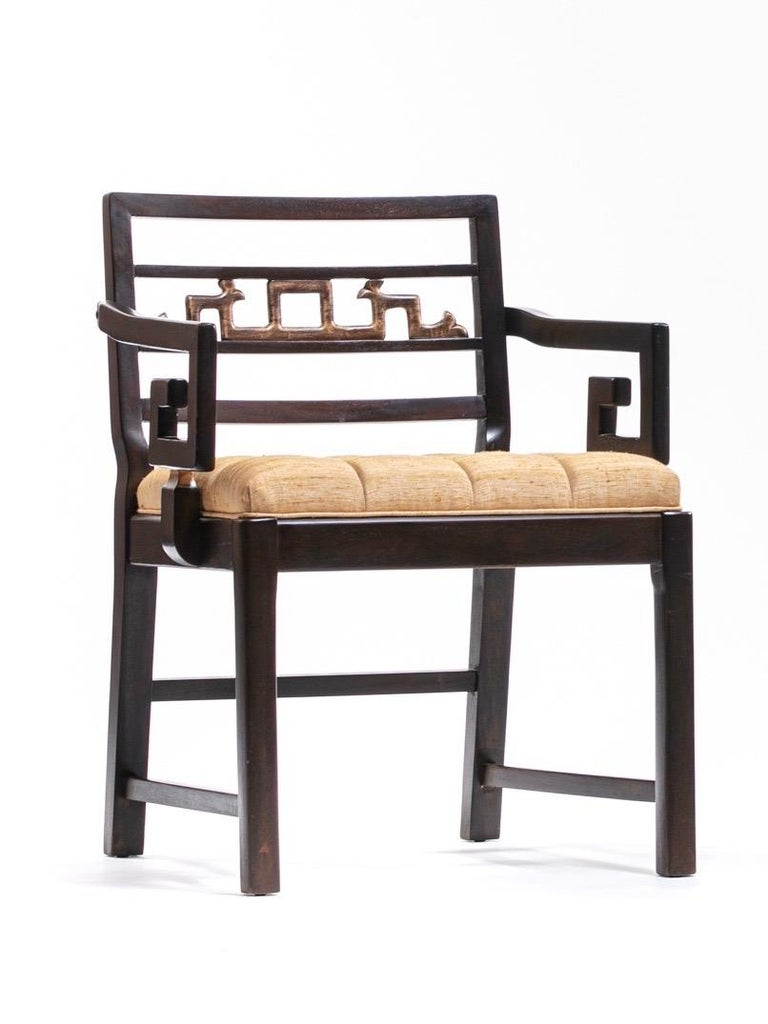 Mid-20th Century Baker Asian Chinoiserie Mahogany Dining Chairs Set of Six, circa 1950 For Sale