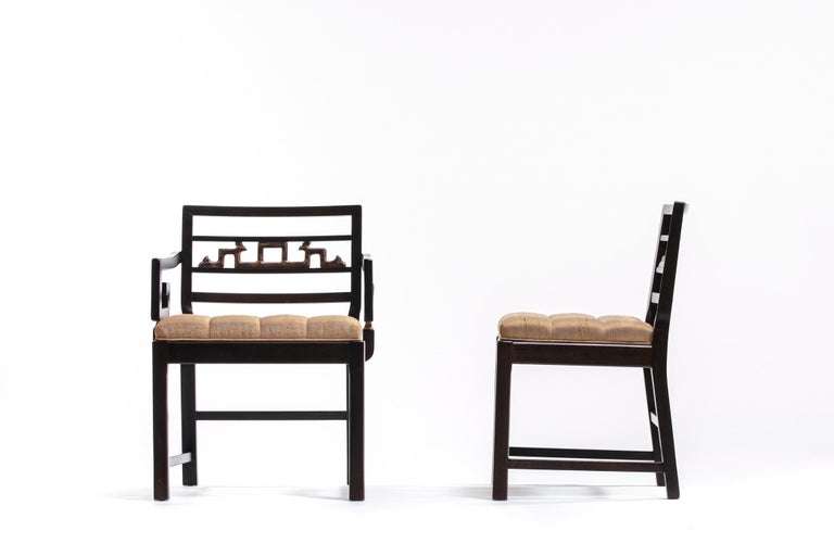 Baker Asian Chinoiserie Mahogany Dining Chairs Set of Six, circa 1950 For Sale 2