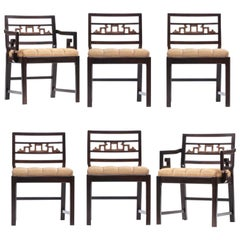 Baker Asian Chinoiserie Mahogany Dining Chairs Set of Six, circa 1950