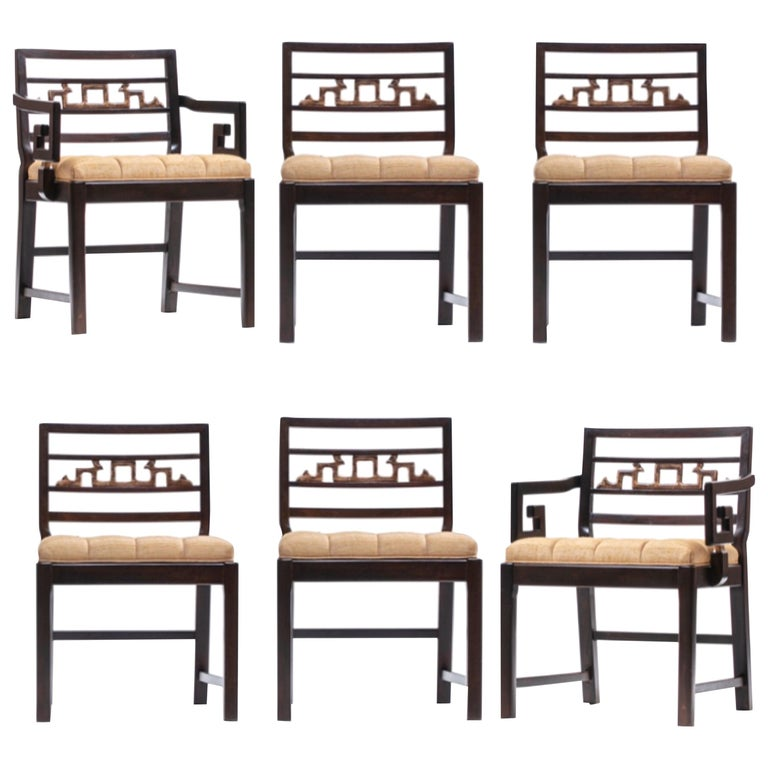 Baker Asian Chinoiserie Mahogany Dining Chairs Set of Six, circa 1950 For Sale