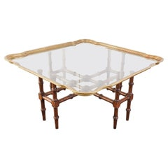 Baker Attributed Faux Bamboo Brass Tray Cocktail Table