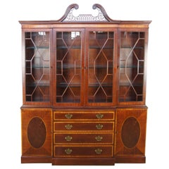 Baker Banded Mahogany English Chippendale Style Breakfront China Display Cabinet