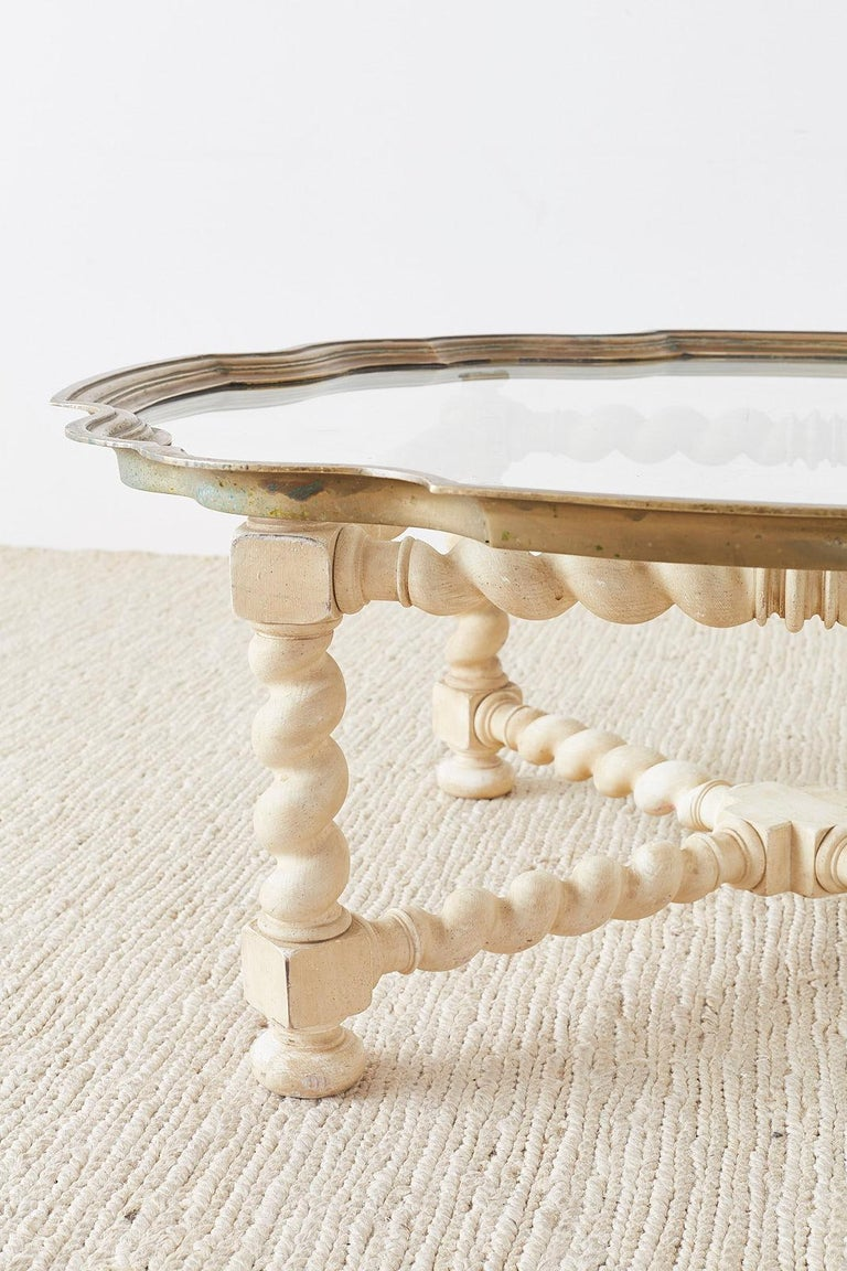 Baker Barley Twist Brass Tray Coffee Cocktail Table For