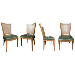 Baker Beech and Faux Leather Chairs with Caning, a Set of 4