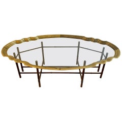 Baker Brass Scalloped Glass and Faux Bamboo Coffee Table