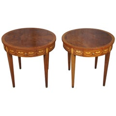 Baker Chippendale Round Inlaid Side End Table w Pullout Tray Flame Mahogany Burl