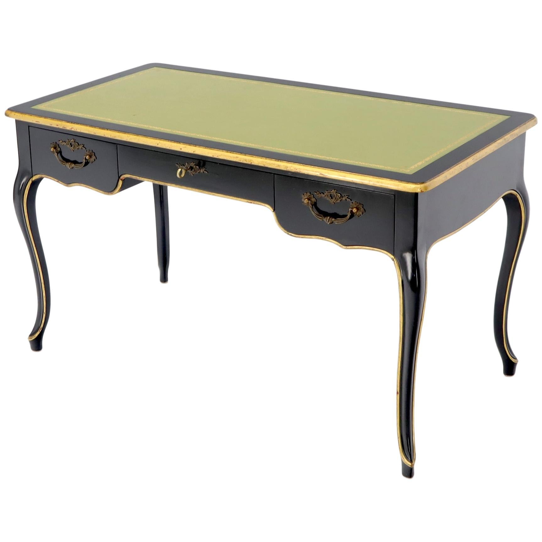 Baker Country French Black Lacquer Gold Trim Leather Desk Console