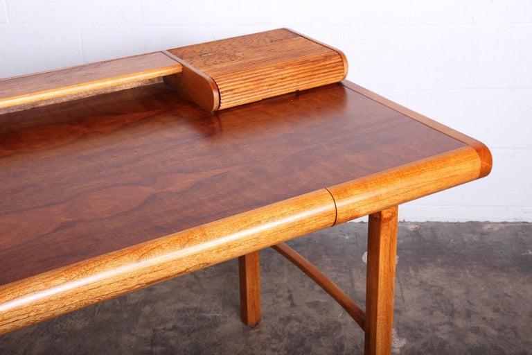 Baker Desk in Oak and Walnut For Sale 6