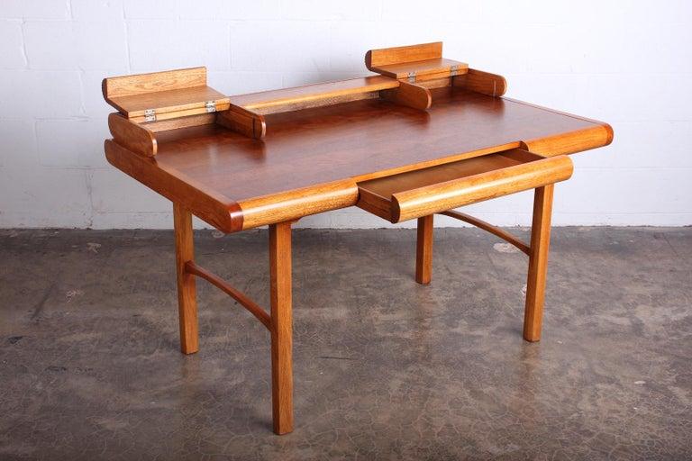 Baker Desk in Oak and Walnut For Sale 7