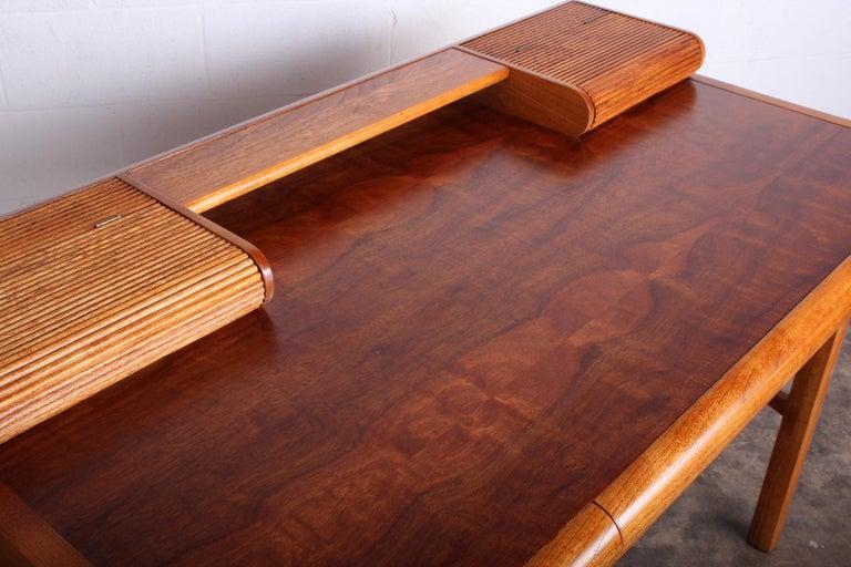 Baker Desk in Oak and Walnut For Sale 8