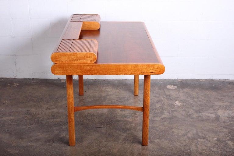 Baker Desk in Oak and Walnut For Sale 9