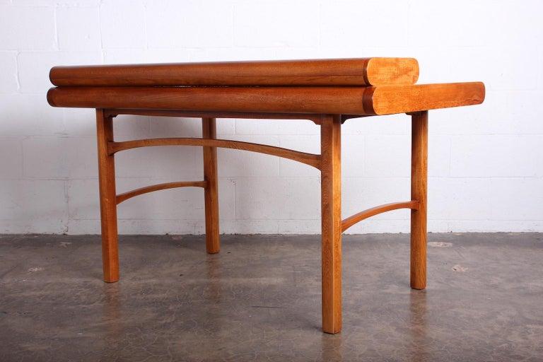 Baker Desk in Oak and Walnut For Sale 12