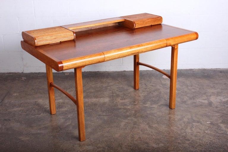 Baker Desk in Oak and Walnut For Sale 1