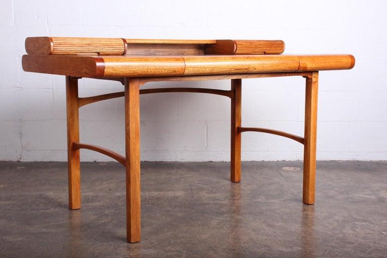 Baker Desk in Oak and Walnut For Sale 2