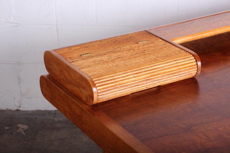 Baker Desk in Oak and Walnut For Sale 3