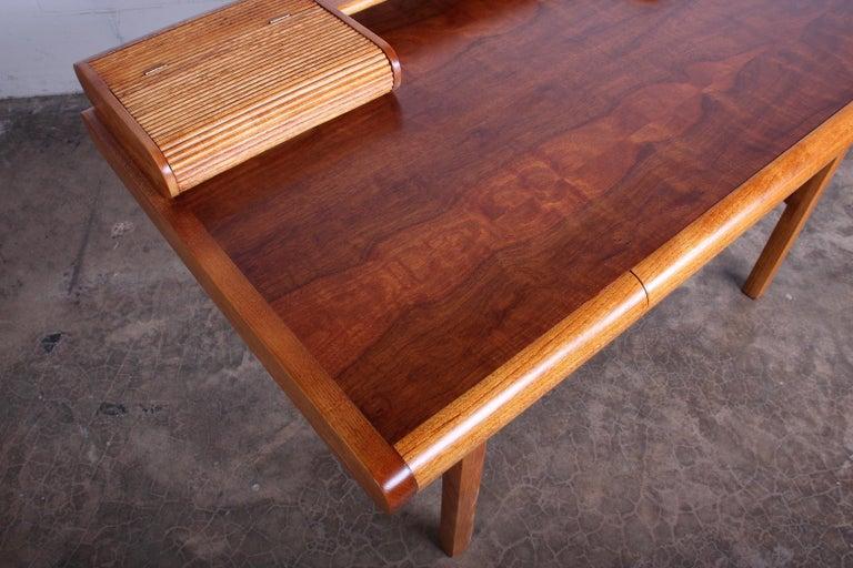 Baker Desk in Oak and Walnut For Sale 5