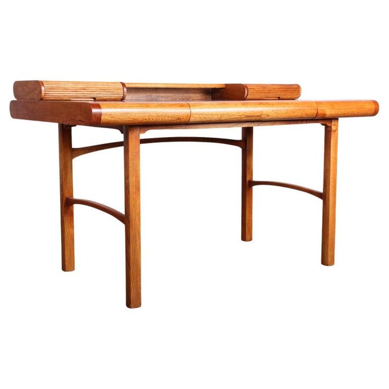 Baker Desk in Oak and Walnut For Sale