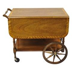 Baker Drop Leaf Mahogany Banded Inlay Tea Cart Server Cart with Glass Tray