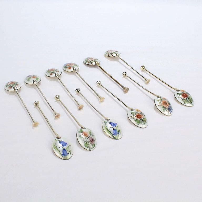 Baker & Ellis Boxed Set of 12 English Enameled Sterling Silver Demitasse Spoons For Sale 4