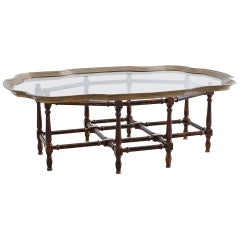 Baker Faux-Bamboo Brass Tray Coffee Table