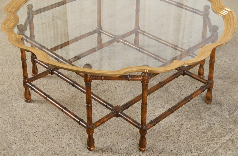 Baker Faux Bamboo Brass Tray Top Cocktail Table For Sale 5
