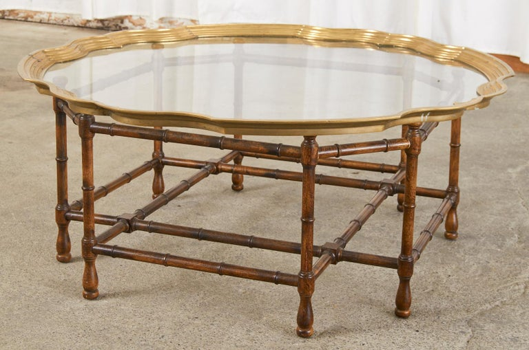 Baker Faux Bamboo Brass Tray Top Cocktail Table For Sale 8