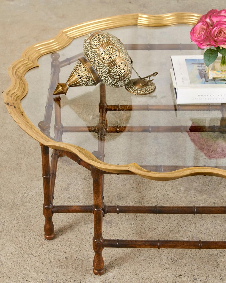 Baker Faux Bamboo Brass Tray Top Cocktail Table For Sale 12