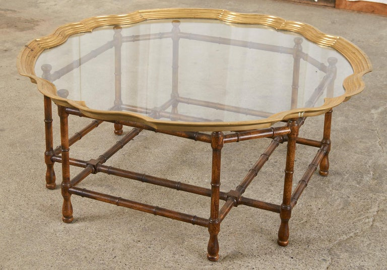 American Baker Faux Bamboo Brass Tray Top Cocktail Table For Sale