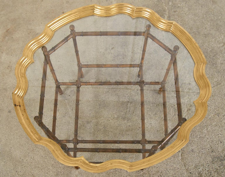 Hand-Crafted Baker Faux Bamboo Brass Tray Top Cocktail Table For Sale
