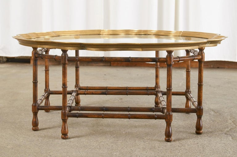 Baker Faux Bamboo Brass Tray Top Cocktail Table In Good Condition For Sale In Rio Vista, CA