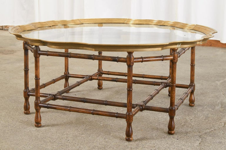 20th Century Baker Faux Bamboo Brass Tray Top Cocktail Table For Sale