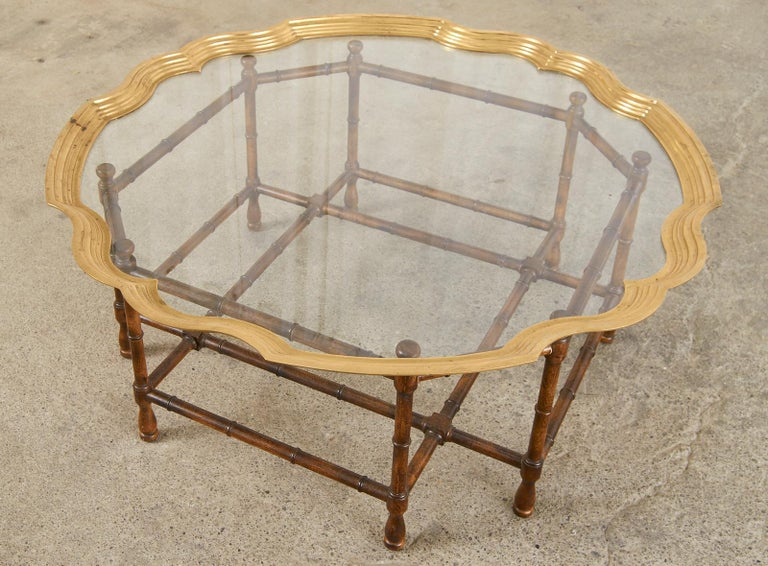 Baker Faux Bamboo Brass Tray Top Cocktail Table For Sale 1