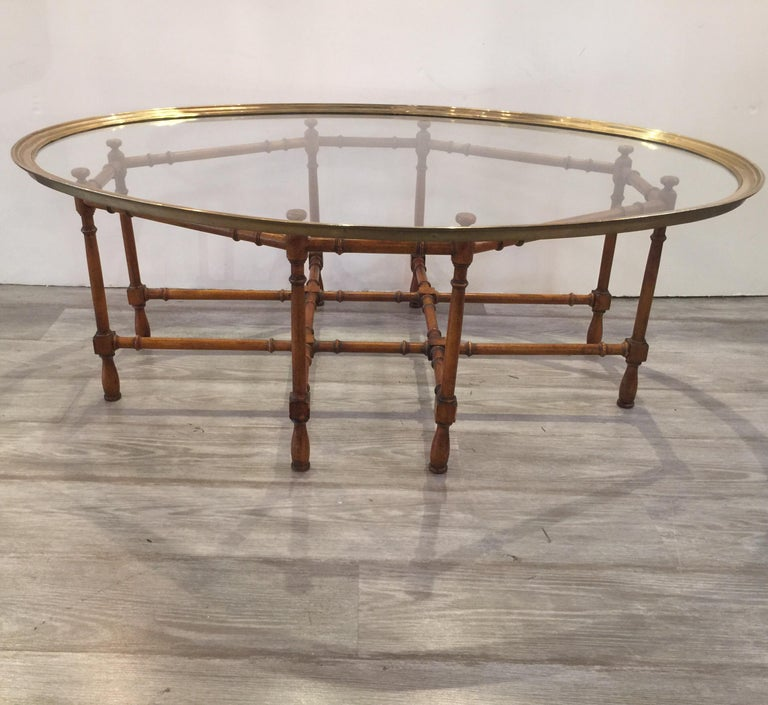 Baker Nixon Coffee Table: Baker Faux Bamboo Cocktail Or Coffee Table With Brass And