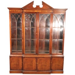 Baker Federal Sheraton Style Shallow Depth China Cabinet Breakfront Bookcase