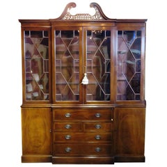 Large Old Baker Federal Style Flame Mahogany Breakfront Glass shelves