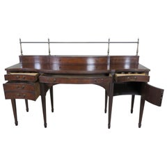 Sheraton Style Mahogany Baker Sideboard Server Buffet with Brass Gallery