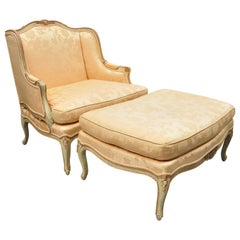 Baker French Louis XV Style Painted Wide Wingback Bergere Settee and Ottoman