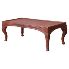 Baker French Provincial Louis XV Burled Walnut Coffee Table, Newly Refinished