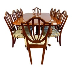 Baker Furniture 11-Piece Dining Room Set Table & Ten Chairs Historic Charleston