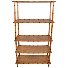 Baker Furniture Attributed Mid-Century Modern 5-Tier Bamboo and Rattan Bookshelf
