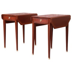 Baker Furniture Banded Mahogany Pembroke Tea Tables, Newly Refinished