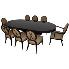 "Baker Furniture Barbara Barry Dining Room Table & Eight ""X"" Back Chairs"