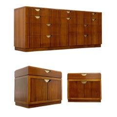 Baker Furniture, Bedroom Set, Ten Drawer Dresser Pair Nightstands, Circa 1980