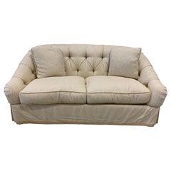 Baker Furniture Beige Tufted Chesterfield Loveseat Sofa